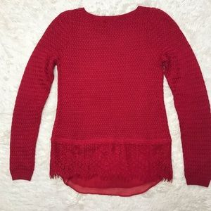 Lucky Brand Sweaters - Lucky Brand XS Red Sweater with Lace Detail